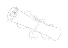 Paper roll. A ancient white paper rolled by ribbon vector illustration