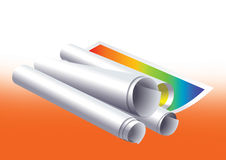 Paper roll. Illustrated paper roll in gradient background stock illustration