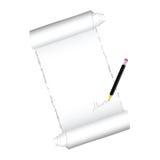 Paper roll with black pen illustration royalty free illustration