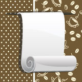 Paper roll on brown background with coffee beans Royalty Free Stock Photos