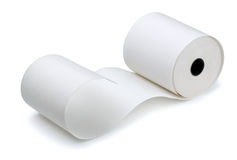 Paper roll. Roll of cash register tape  on white Stock Photos