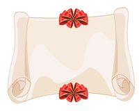 Paper roll decorated by red bow Stock Image