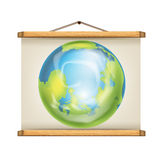 Paper roll sign with wooden frames and image of planet earth Royalty Free Stock Photography