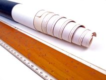 Paper Roll Tsquare. Cylinder whit Paper Roll & wooden T-square ruler royalty free stock image
