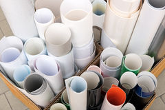 Paper rolls in boxes Stock Images