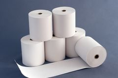 Paper  Rolls for Cash Register. Compositiin of Paper Rolls for Cash Register in the Business area Stock Image