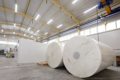 Paper rolls. In paper production factory stock photo