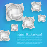 Paper rose flowers background. 3d paper rose flowers - vector abstract background stock illustration