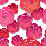 Paper rose flowers 3d pattern. Paper pink rose flowers 3d pattern. Vector illustration Stock Photos