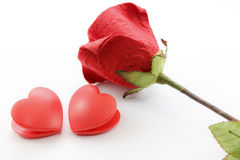 Paper rose and heart Stock Photo