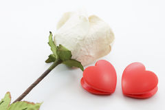 Paper rose and heart Stock Image
