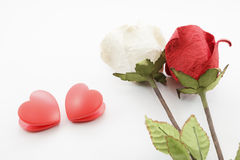 Paper rose and heart Royalty Free Stock Image