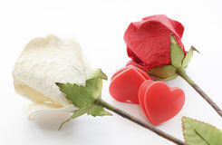 Paper rose and heart Stock Images