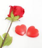 Paper rose and heart Stock Photos