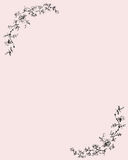 Paper with rose ornament. Pink paper with drawn rose decoration Royalty Free Stock Photography
