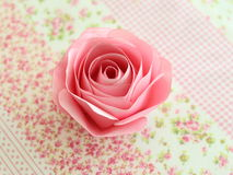 Paper rose. Rose Pink Paper on fabric Royalty Free Stock Photos