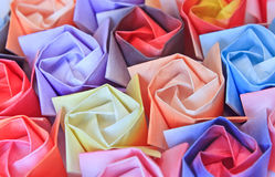 Paper roses. Close-up of colourful paper roses. Shallow depth of field Royalty Free Stock Photography