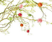 Paper roses on branches Stock Photos