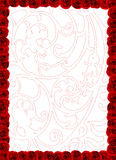 Paper with roses decoration. Paper with roses frame and floral pattern Royalty Free Stock Photo
