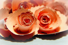 Paper roses for decoration. Paper roses in bright, tender, pink color Royalty Free Stock Images