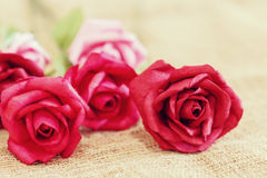 Paper roses with soft and blurred focus. Vintage and retro Stock Photo