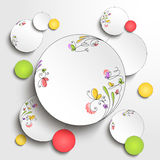 Paper round banner with floral elements Royalty Free Stock Images
