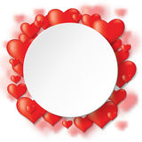 Paper round card on hearts background Royalty Free Stock Photography