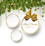 Paper round holiday labels. Holiday paper round labels. Christmas balls over starry background with fir branches. Vector illustration Stock Photo