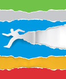 Paper running man ripping paper. Paper silhouette of  running man ripping colorful  paper background with place for your text or image.Vector illustration Stock Images