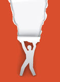 Paper running man ripping paper. Paper Silhouette hanging man, ripping red paper background with place for your text or image.Vector illustration Stock Photos
