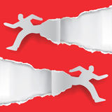 Paper running man ripping paper. Paper silhouette of  two running men ripping red paper background with place for your text or image.Vector illustration Royalty Free Stock Image