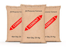 Paper Sacks Cement Bags. 3d Rendering Stock Images