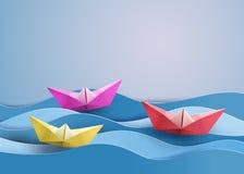 Paper sailing boat Stock Photo