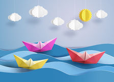 Paper sailing boat. Origami made colorful paper sailing boat Royalty Free Stock Photo