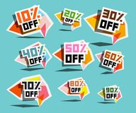 Paper Sale Labels. Discount Prices Tags.  Stock Illustration