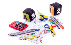 Paper with school supplies Royalty Free Stock Photos