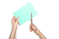 Paper, Scissors and Hand Stock Photography