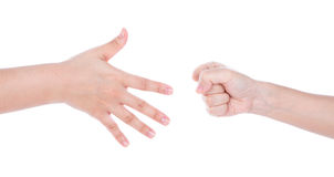 Paper,scissors, stone - hands Stock Photo