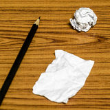 Paper scrap and crumpled with pencil Royalty Free Stock Image