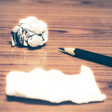 Paper scrap and crumpled with pencil Stock Photography