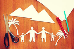 Paper scraps about family vacation Stock Photo