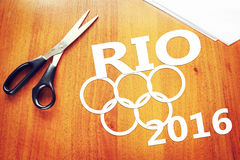 Paper scraps about Olympic Games in Rio de Janeiro Royalty Free Stock Photography