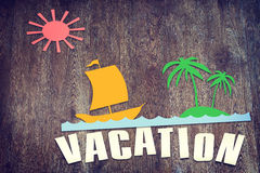 Paper scraps about summer vacation on wooden surface Royalty Free Stock Photos