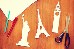 Paper scraps about travel and landmarks Royalty Free Stock Photos