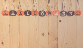 Paper screen Halloween letter on wood. Stock Photography