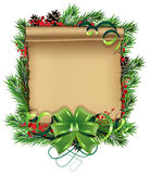 Paper scrol with bow and spruce branches Stock Image