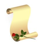 Paper Scroll And Rose Stock Image
