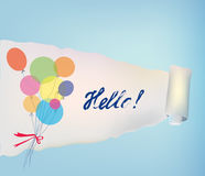 Paper scroll background with baloons and hello Royalty Free Stock Images