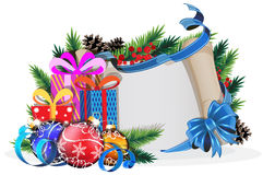 Paper scroll with blue bow, gifts and Christmas balls Royalty Free Stock Image