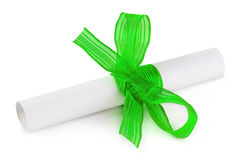 Paper scroll and bow Royalty Free Stock Images
